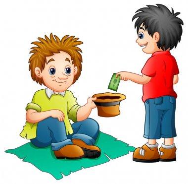 A boy give money to a beggar