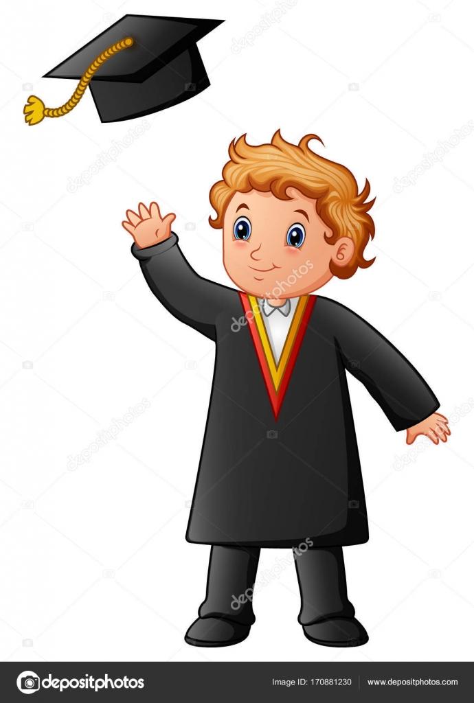 Happy boy in black graduation gown — Stock Vector © dualoro #170881230