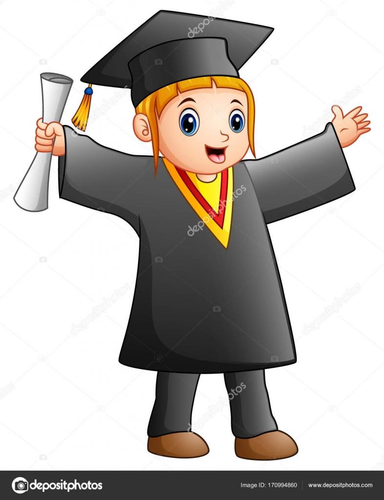 Happy girl in black graduation gown — Stock Vector © dualoro #170994860