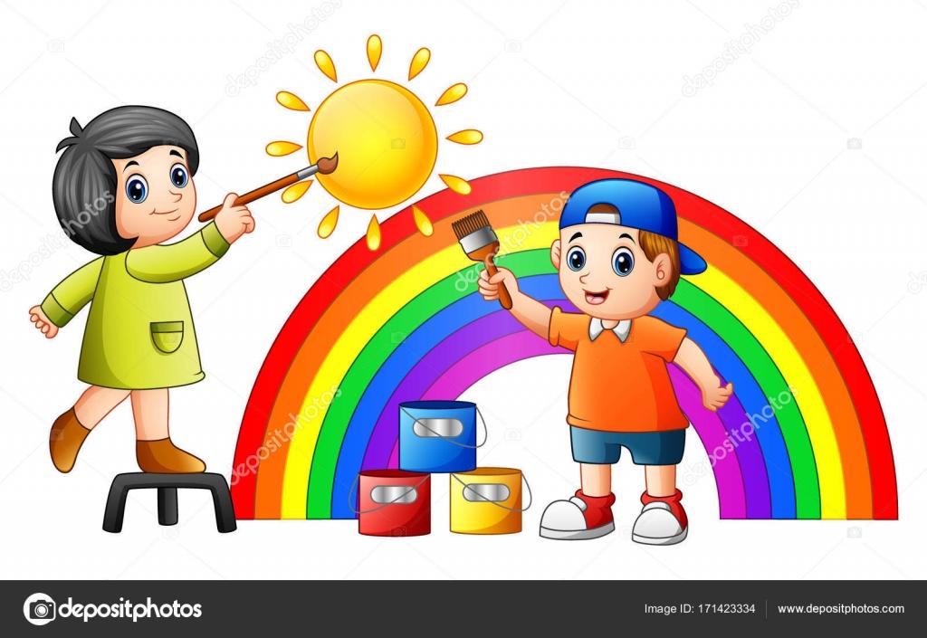 Imagenes De Niños Pintando Para Colorear: Crianças Dos Desenhos Animados, Pintar O Arco-íris E O Sol