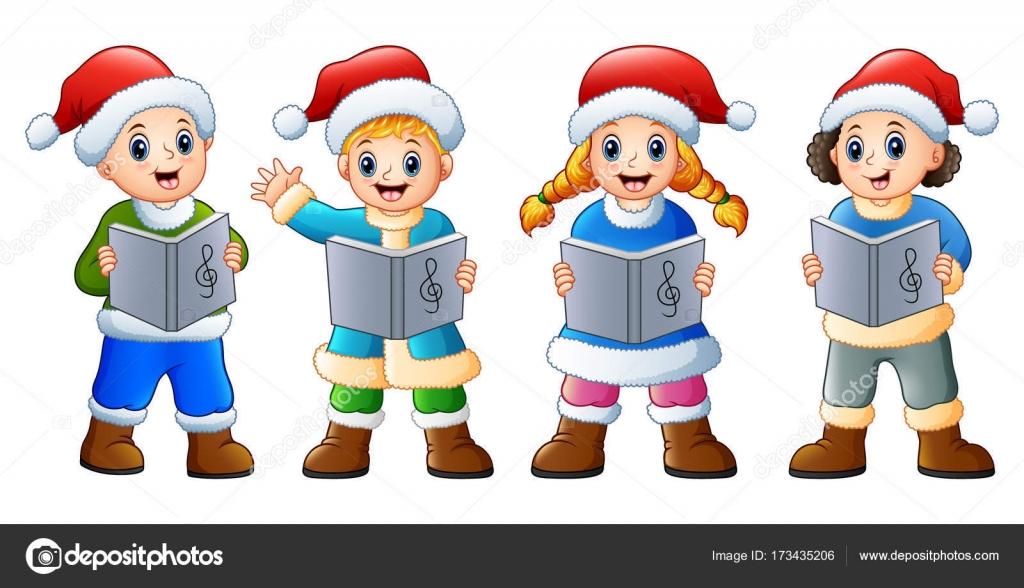 Gruppe von Kindern in Santa Kostüm singen Weihnachtslieder ...