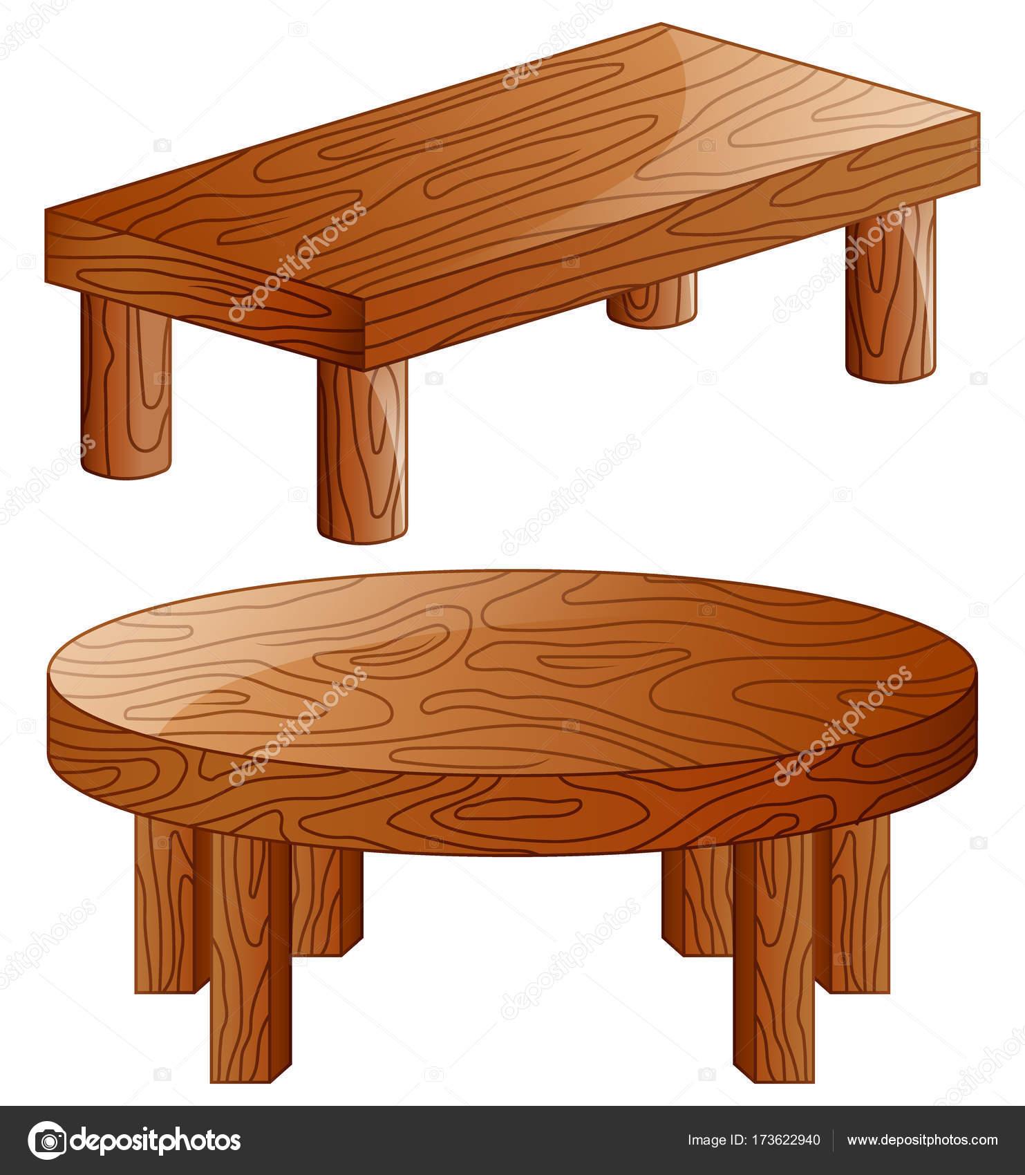 Tavoli di legno del fumetto isolati su priorità bassa bianca ...