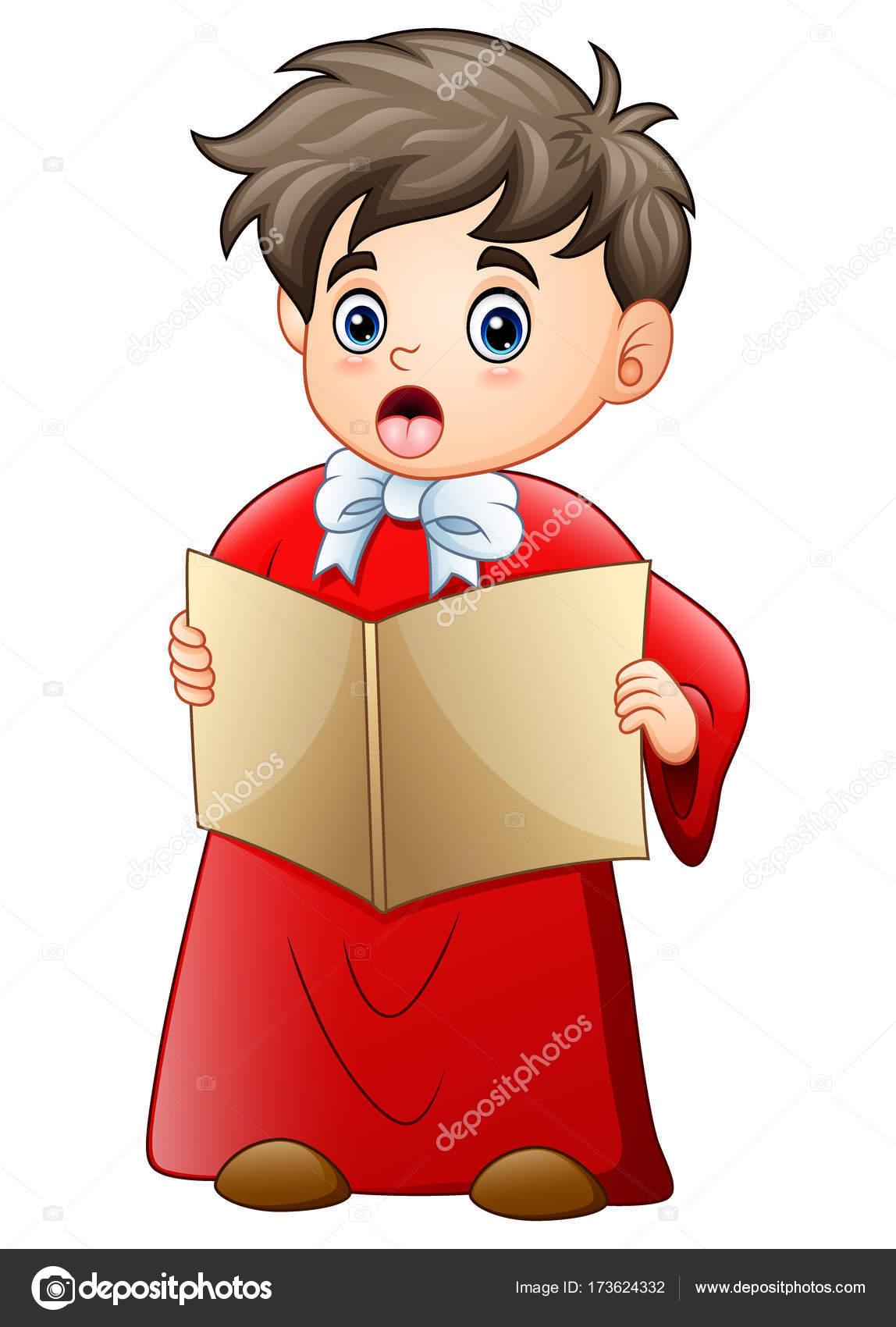 Cartoon junge singen Weihnachtslieder — Stockvektor © dualoro #173624332