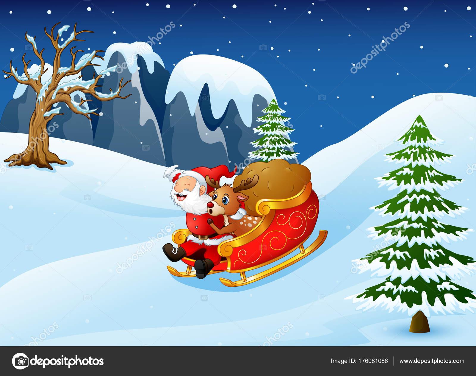 Dibujo De Papa Noel Y Sus Renos