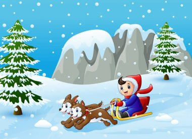 Vector illustration of Cartoon boy riding sled on the downhill pulled by two dogs stock vector