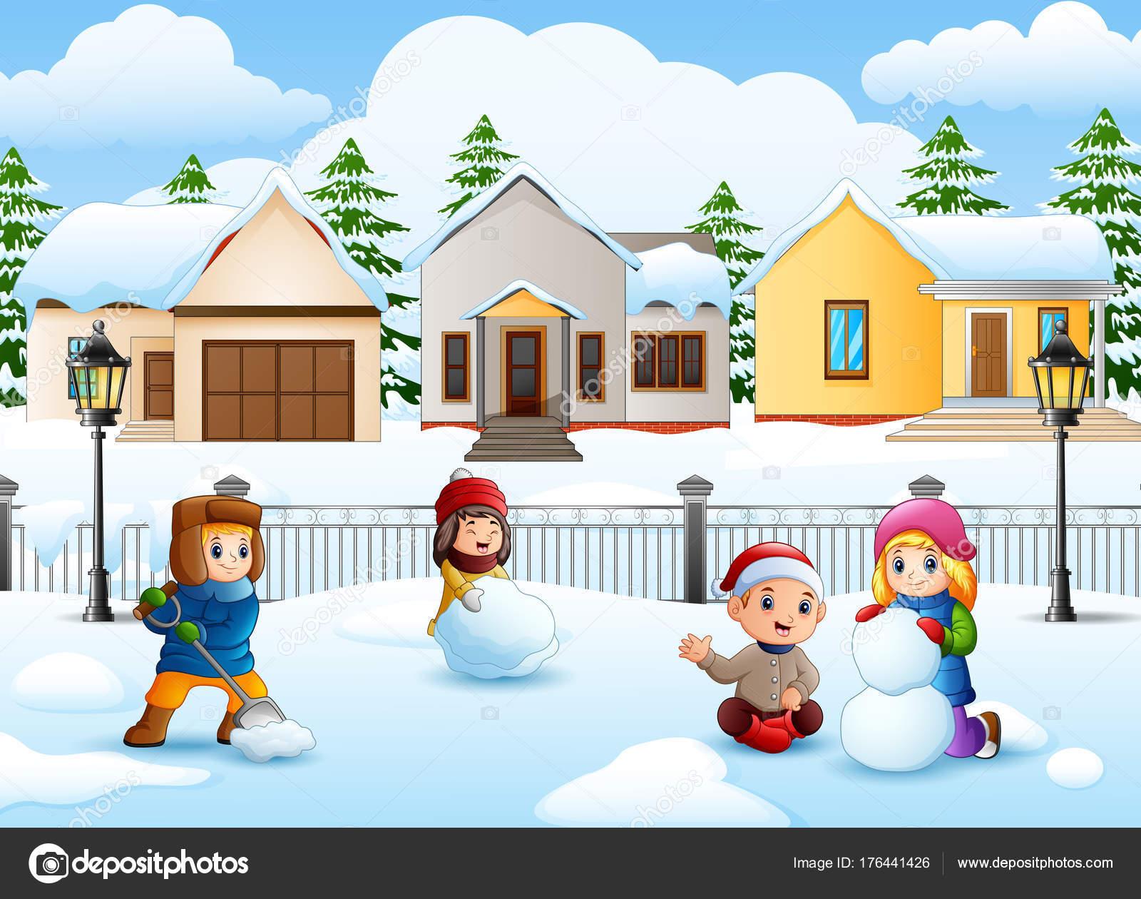 Ilustracion Vector Los Ninos Dibujos Animados Jugando Nieve