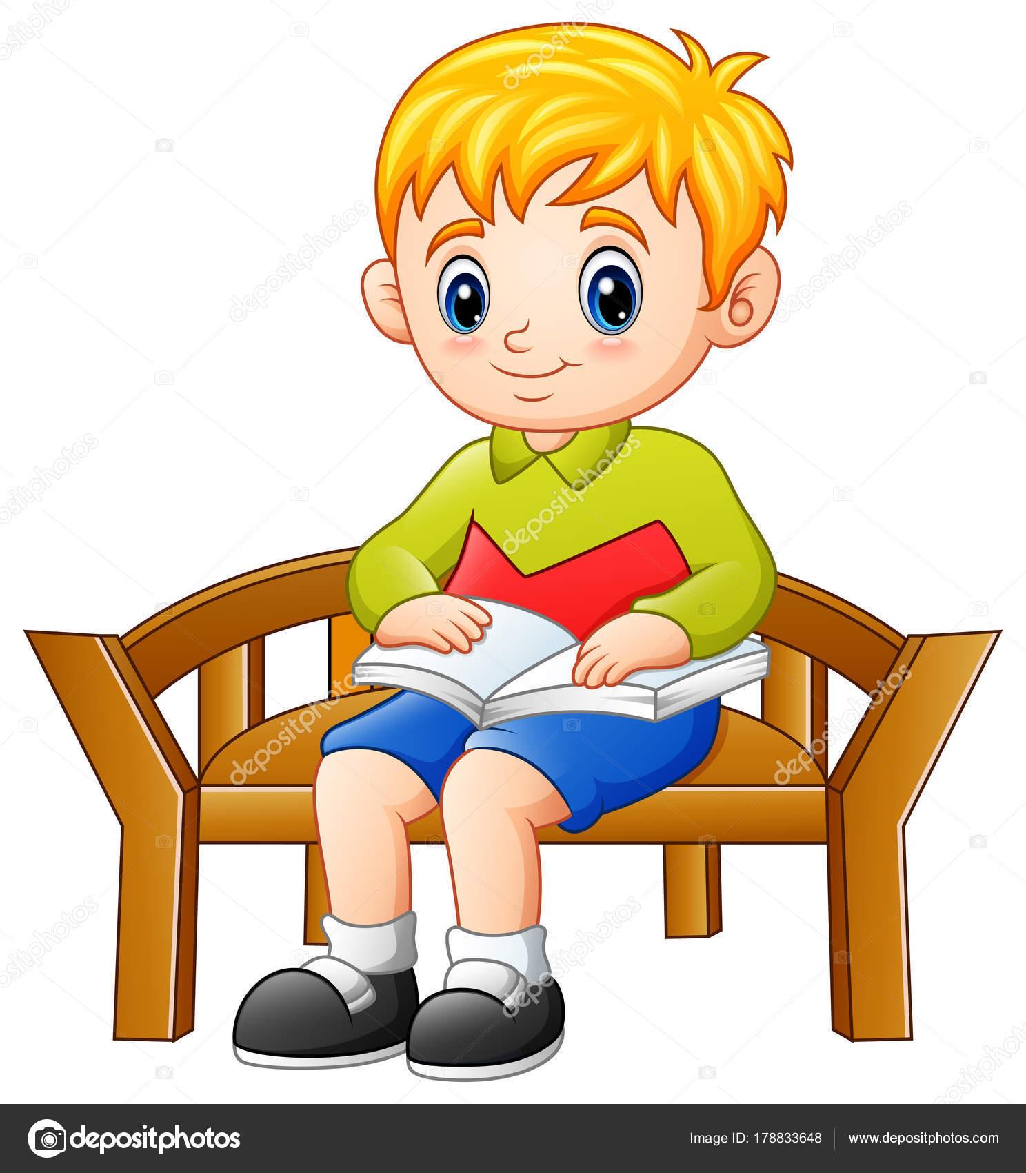 Küçük çocuk Bir Kitap Okuma Bir Sandalyede Oturan Vektör çizim