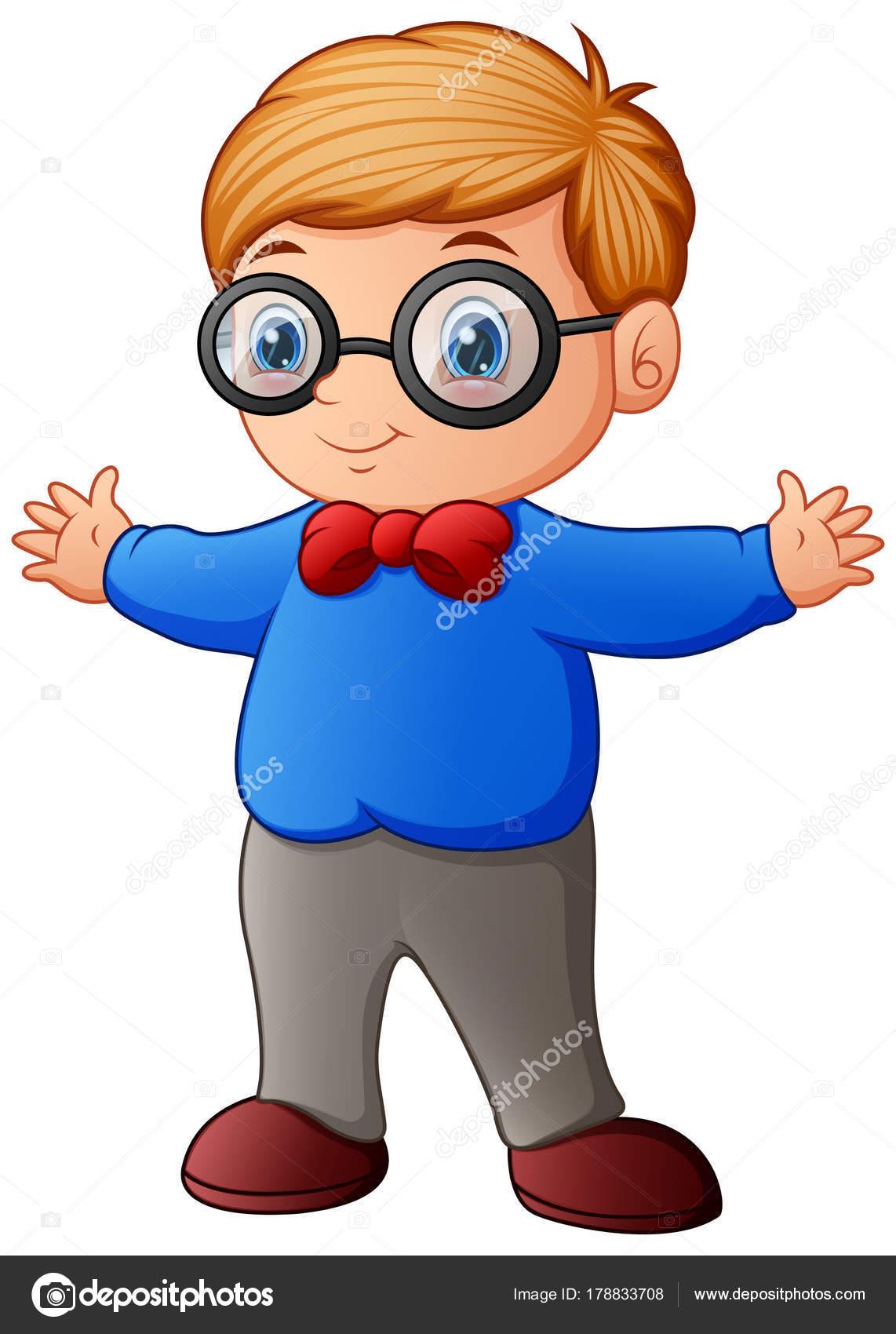 930dd6b6b2 Ilustración Vector Lindo Niño Camiseta Azul Gafas — Archivo Imágenes  Vectoriales