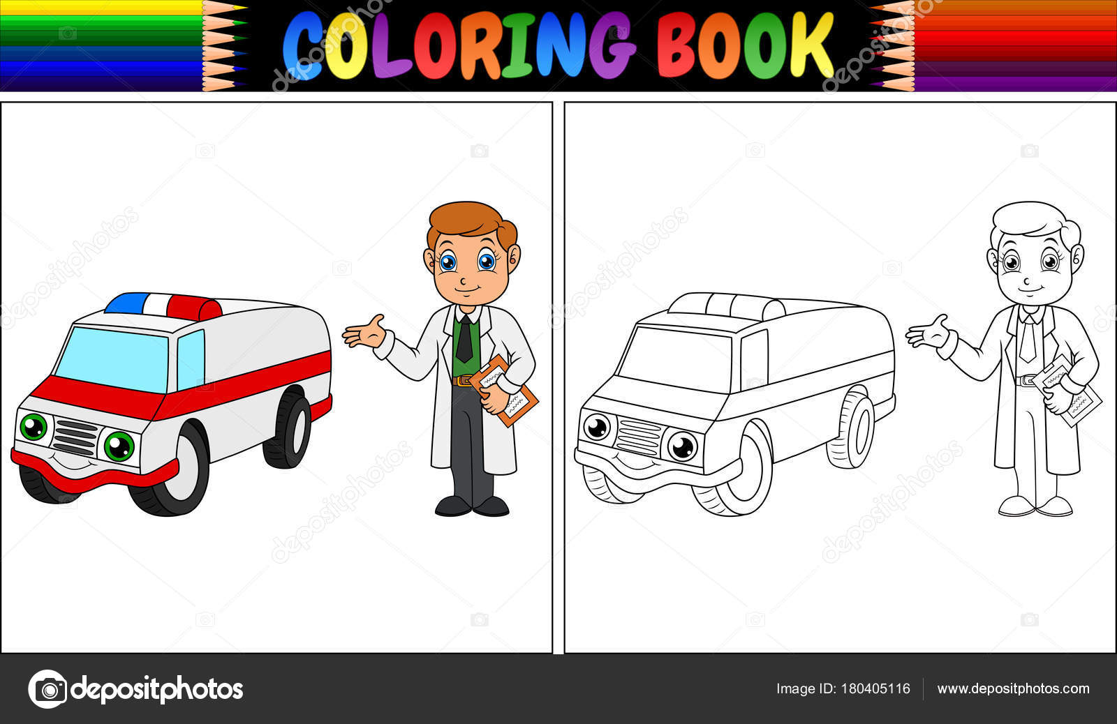 Vector Illustration Coloring Book Young Doctor Ambulance Car