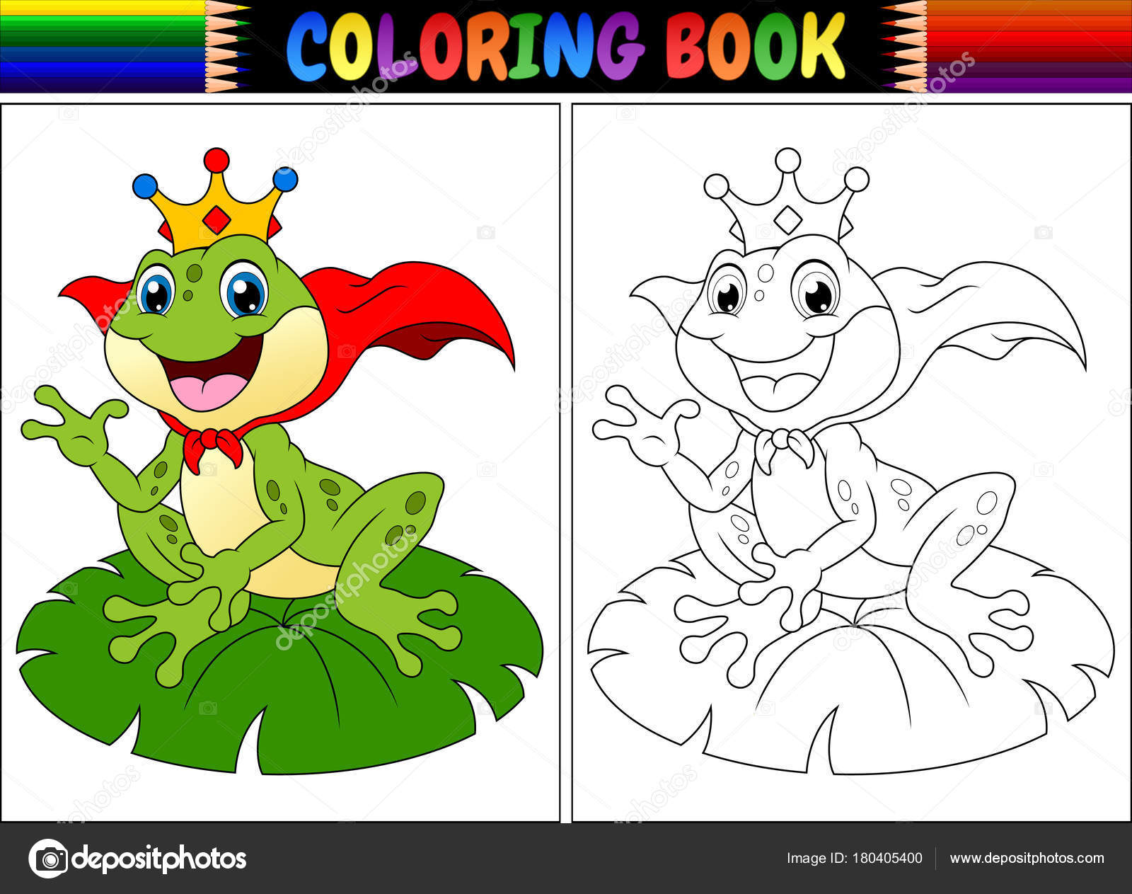 Vektor Illustration Der Malbuch König Frosch Cartoon — Stockvektor ...