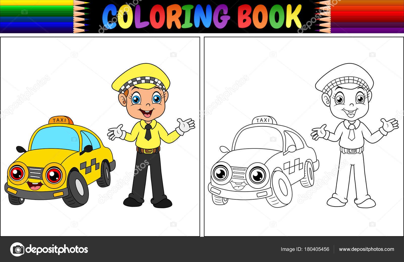 Animado Conductor Para Colorear Ilustración Vector Libro