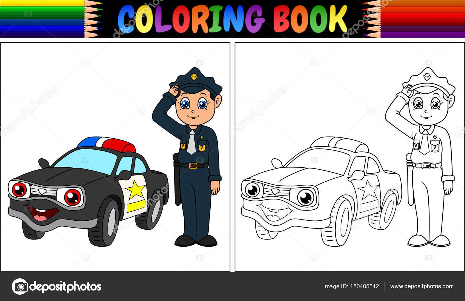 Ilustración Vector Libro Para Colorear Con Coche Policía Policía ...