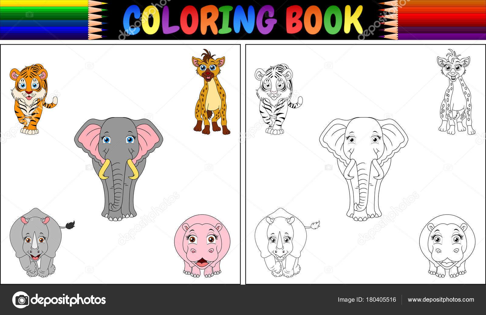 Ilustración Vector Libro Para Colorear Con Dibujos Animales Salvajes ...