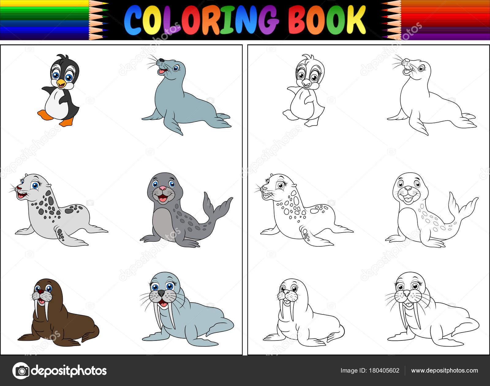 Boyama Kitabı Kutup Hayvanları Koleksiyonu Ile Vektör çizim Stok