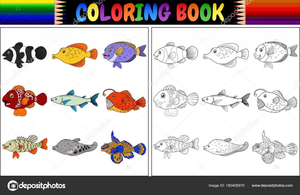 Ilustración Vector Libro Para Colorear Varios Peces — Vector de ...