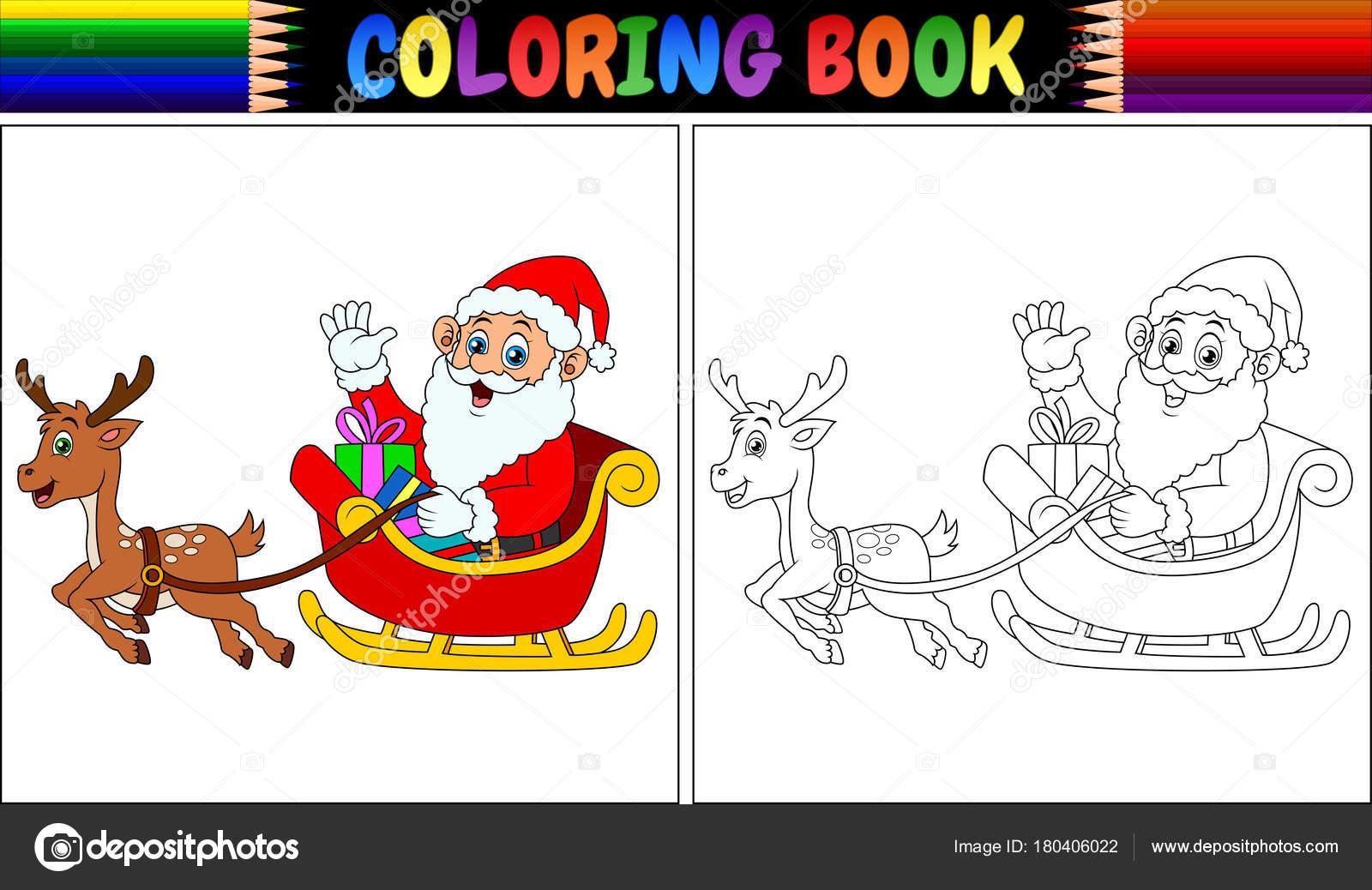 Ilustración Vector Libro Para Colorear Dibujos Animados Santa Claus ...