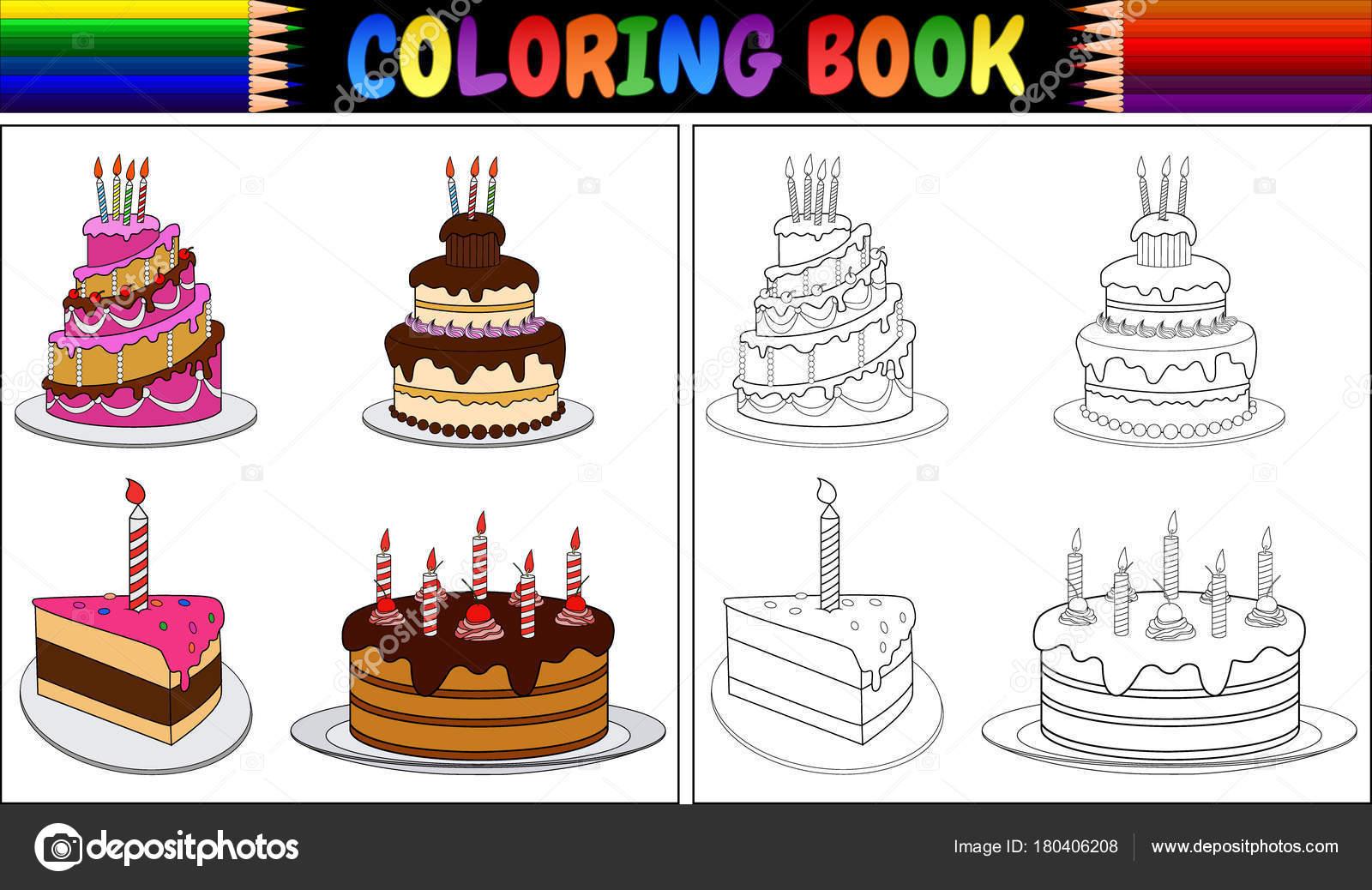 Imágenes Un Pastel Para Colorear Sin Velas Ilustración