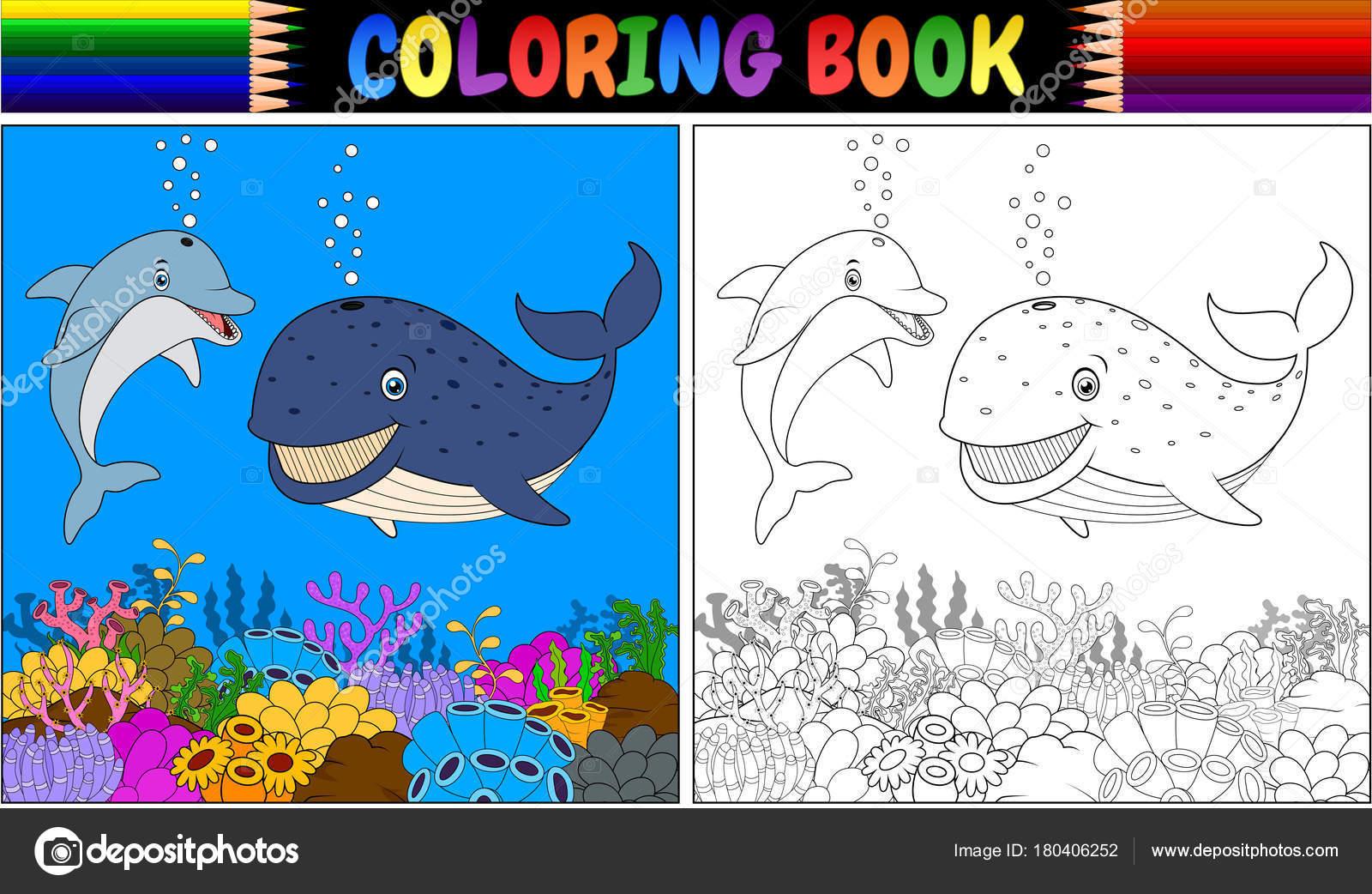 Vektör çizim Karikatür Yunus Balina Ile Boyama Kitabı Stok Vektör