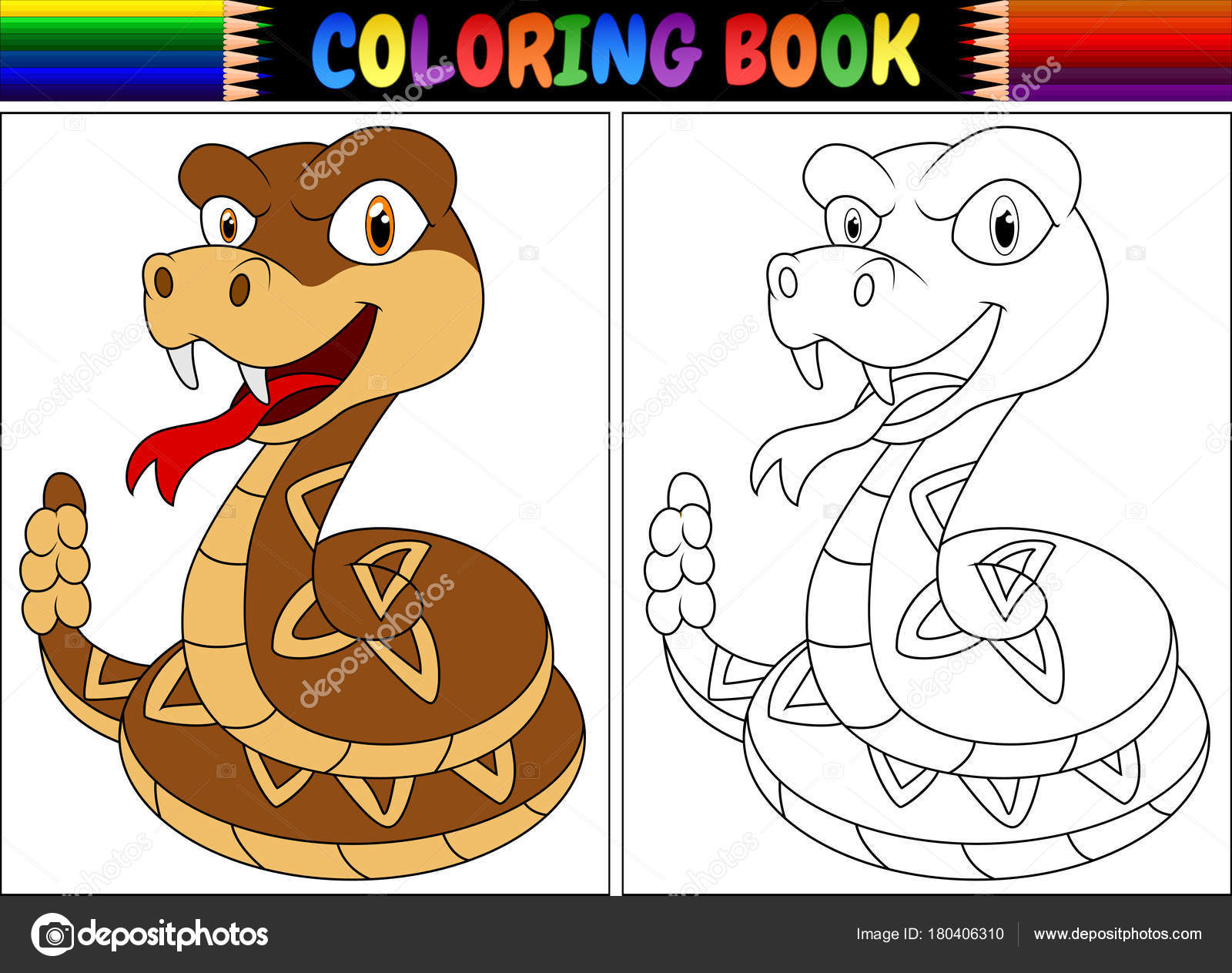 Ilustración Vector Libro Para Colorear Con Serpiente Cascabel ...