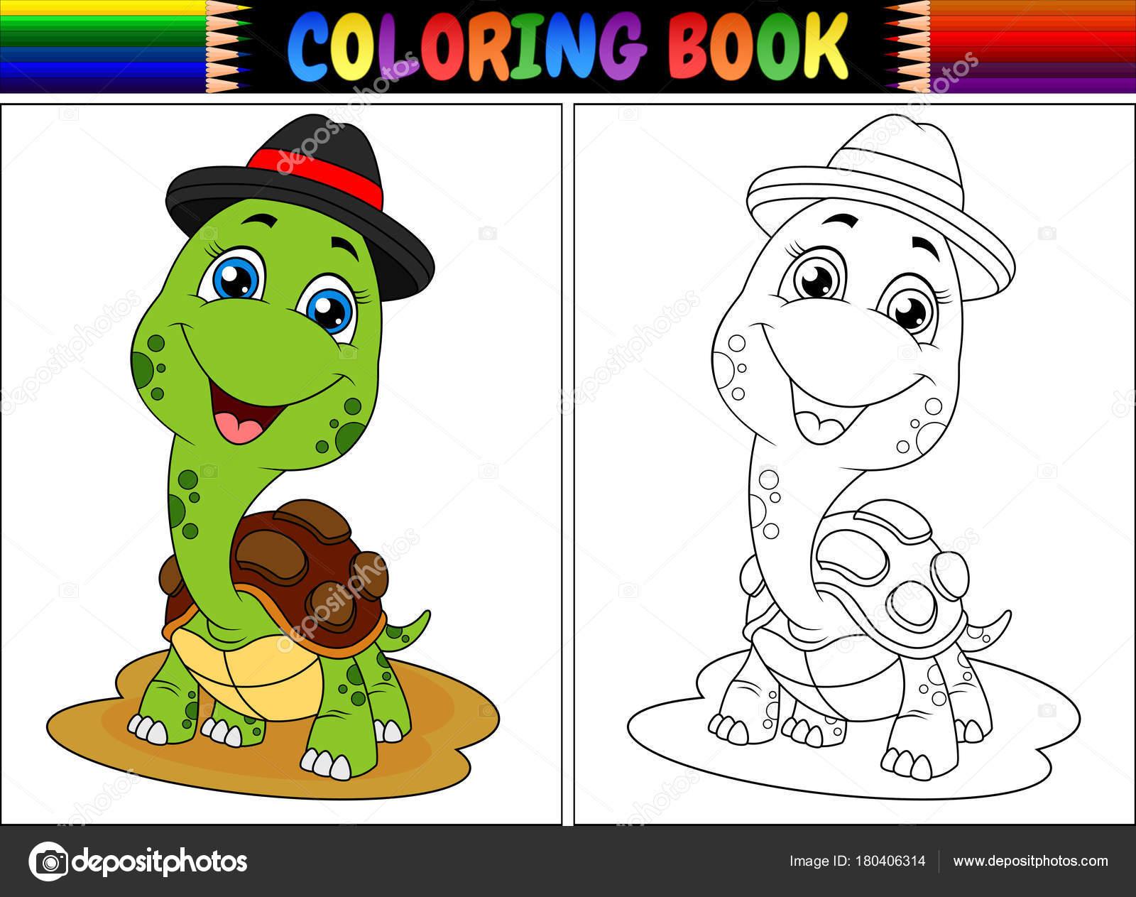 Ilustración Vector Libro Para Colorear Con Linda Tortuga Con Tapa ...