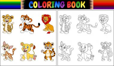 Vector illustration of Coloring book with wild cats collection
