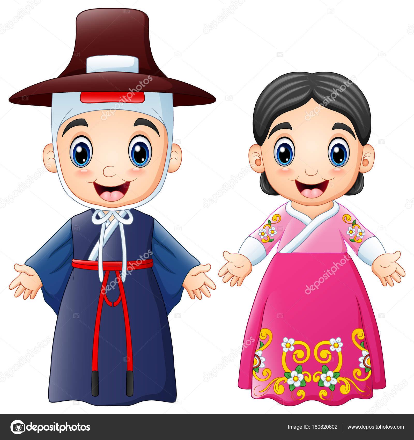 伝統的な衣装を着て漫画韓国カップルのベクトル イラスト — ストック