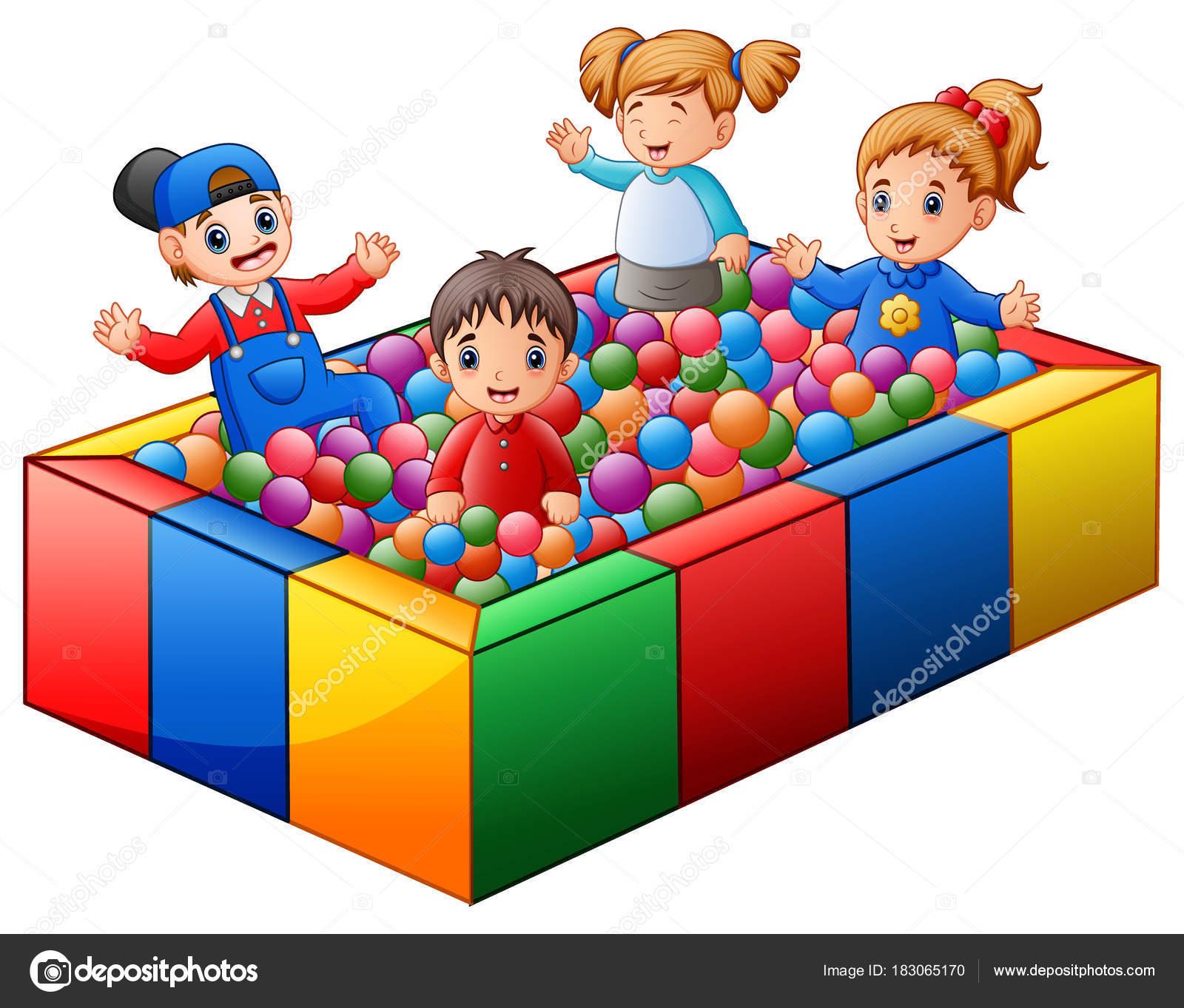 Dibujo piscina de bolas ilustraci n vectorial ni os jugando piscina bolas coloridas vector - Piscina de bolas para bebes ...