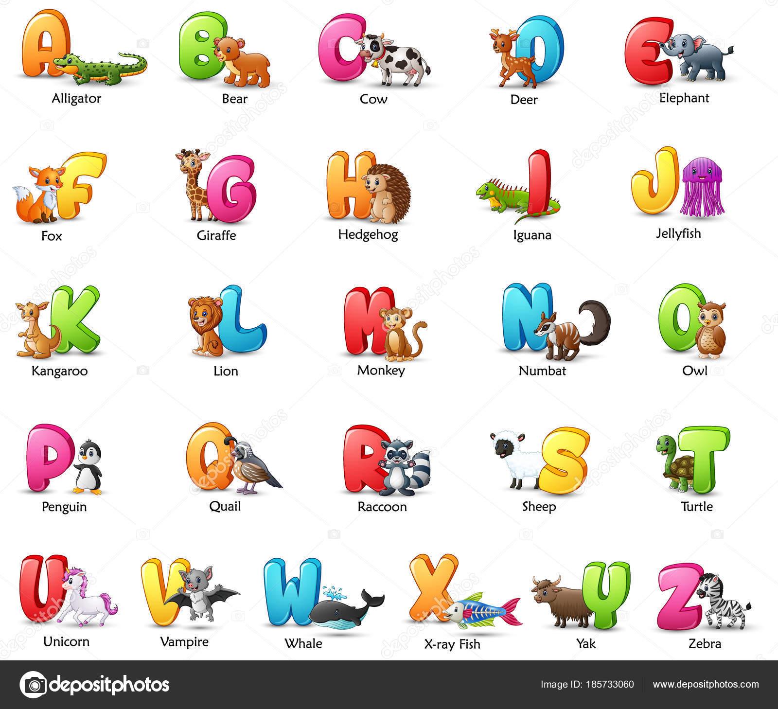 さまざまな動物と設定漫画カラフルなアルファベットのベクトル イラスト