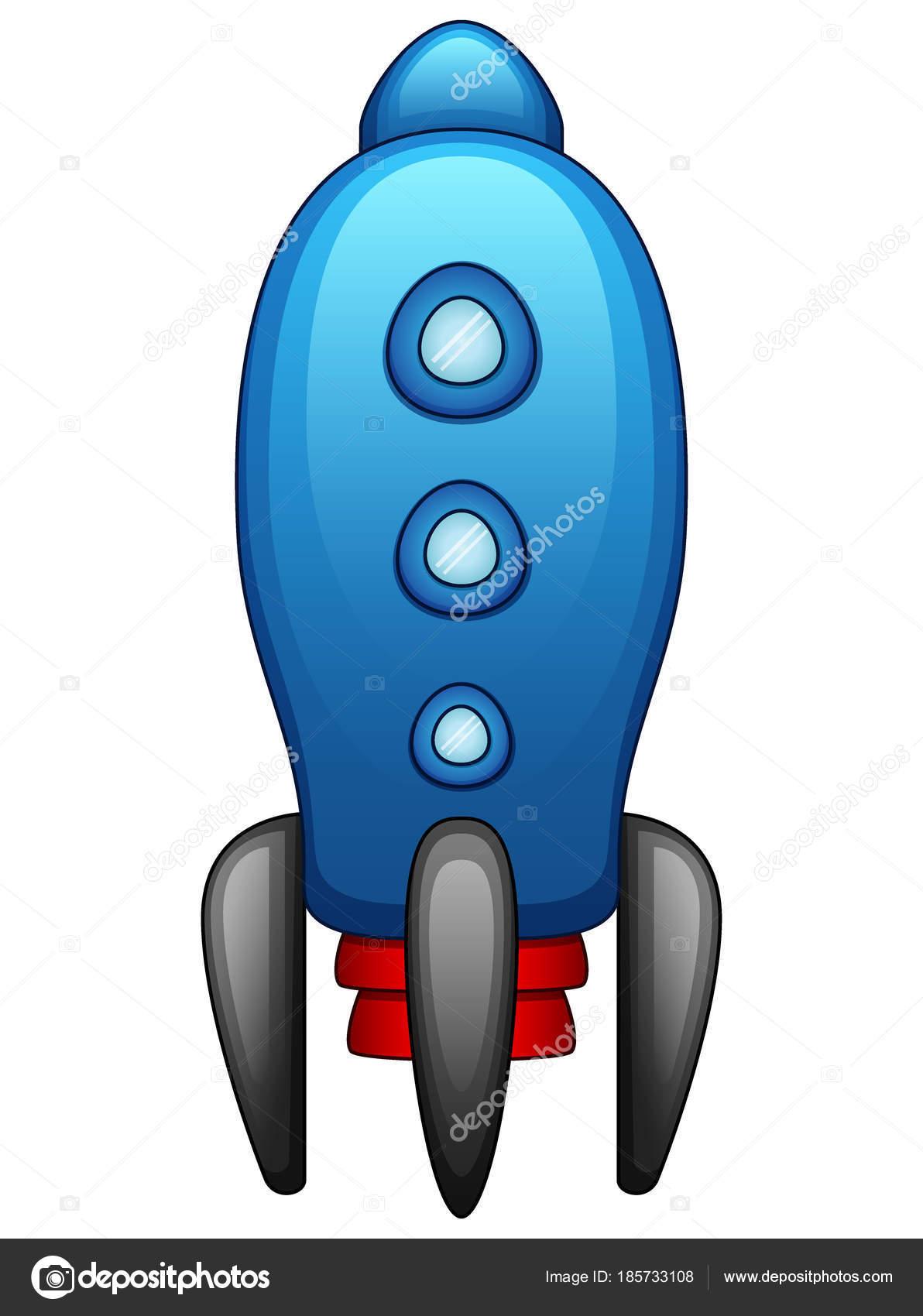 漫画青い宇宙船が白い背景で隔離のベクトル イラスト ストックベクター