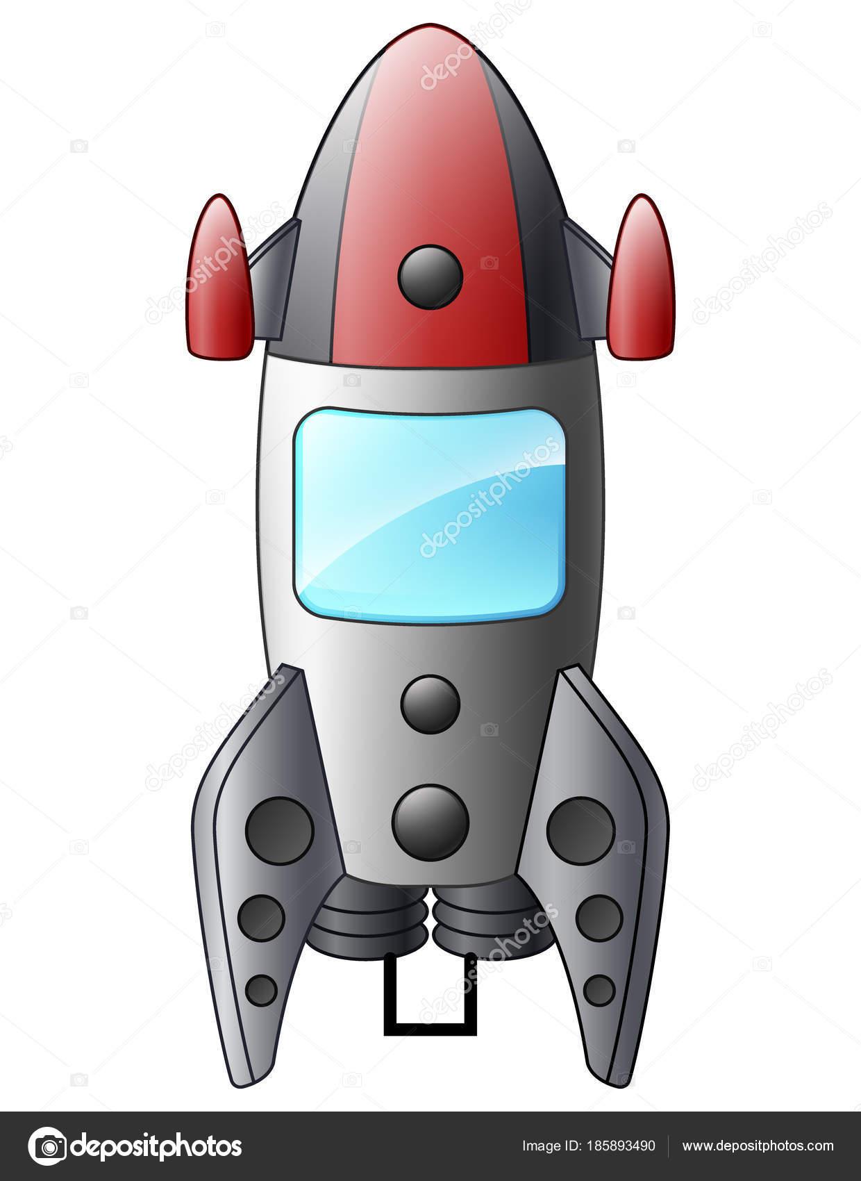 漫画の宇宙船が白い背景で隔離のベクトル イラスト ストックベクター