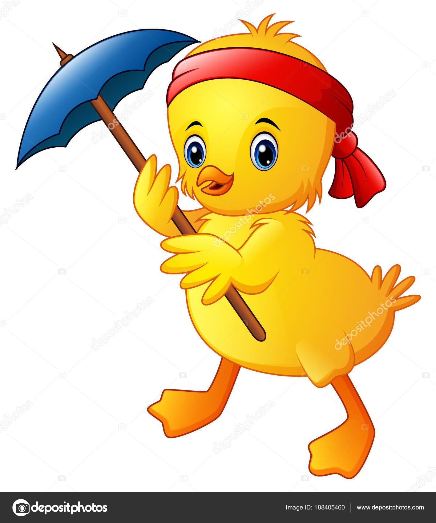 かわいい漫画のカモは青い傘と赤いヘッドバンドのベクトル イラスト