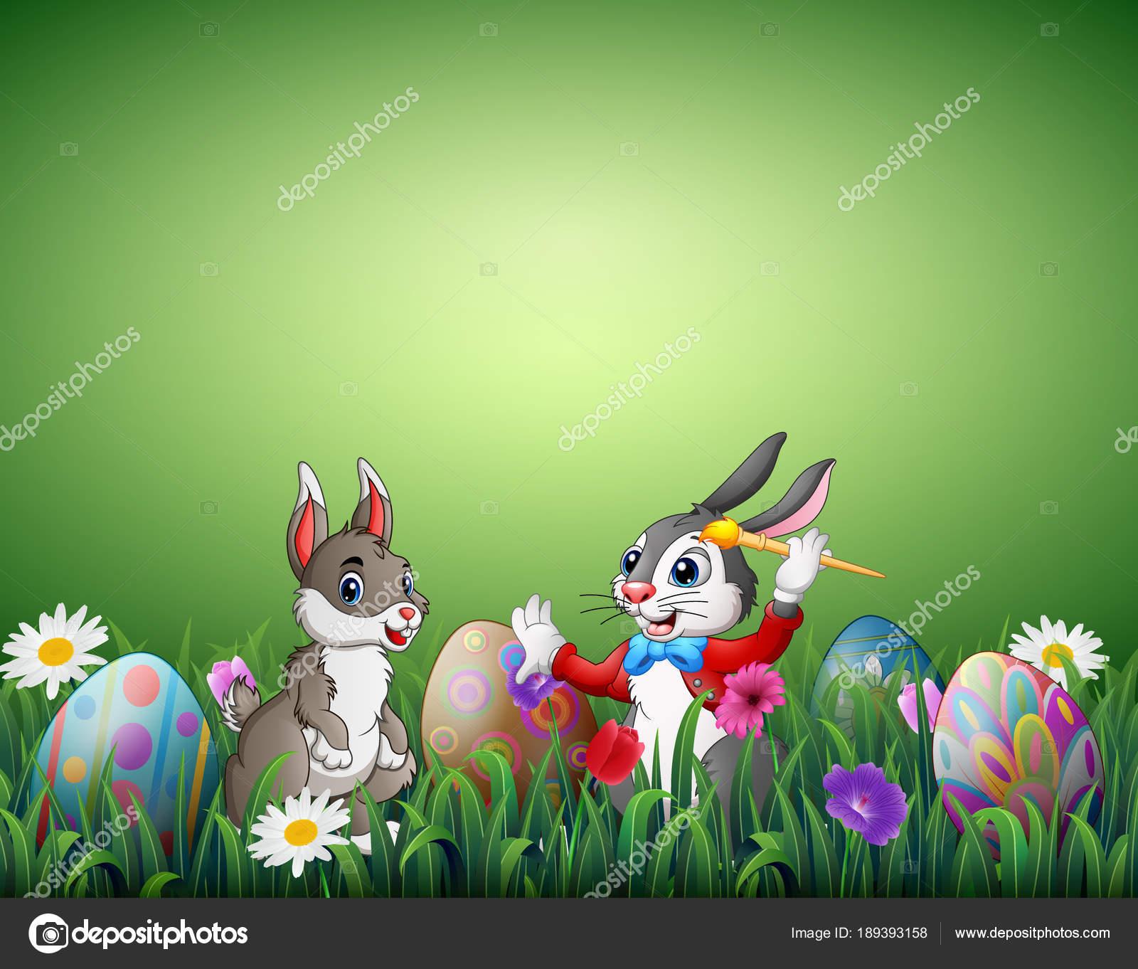Vettore coniglietto pasquali con due coniglietti pasquali con