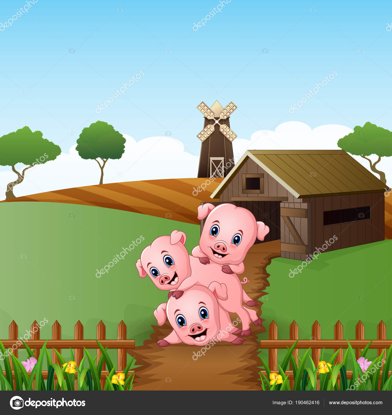 Vector Illustration Cartoon Three Little Pigs Playing Farm Background Stock