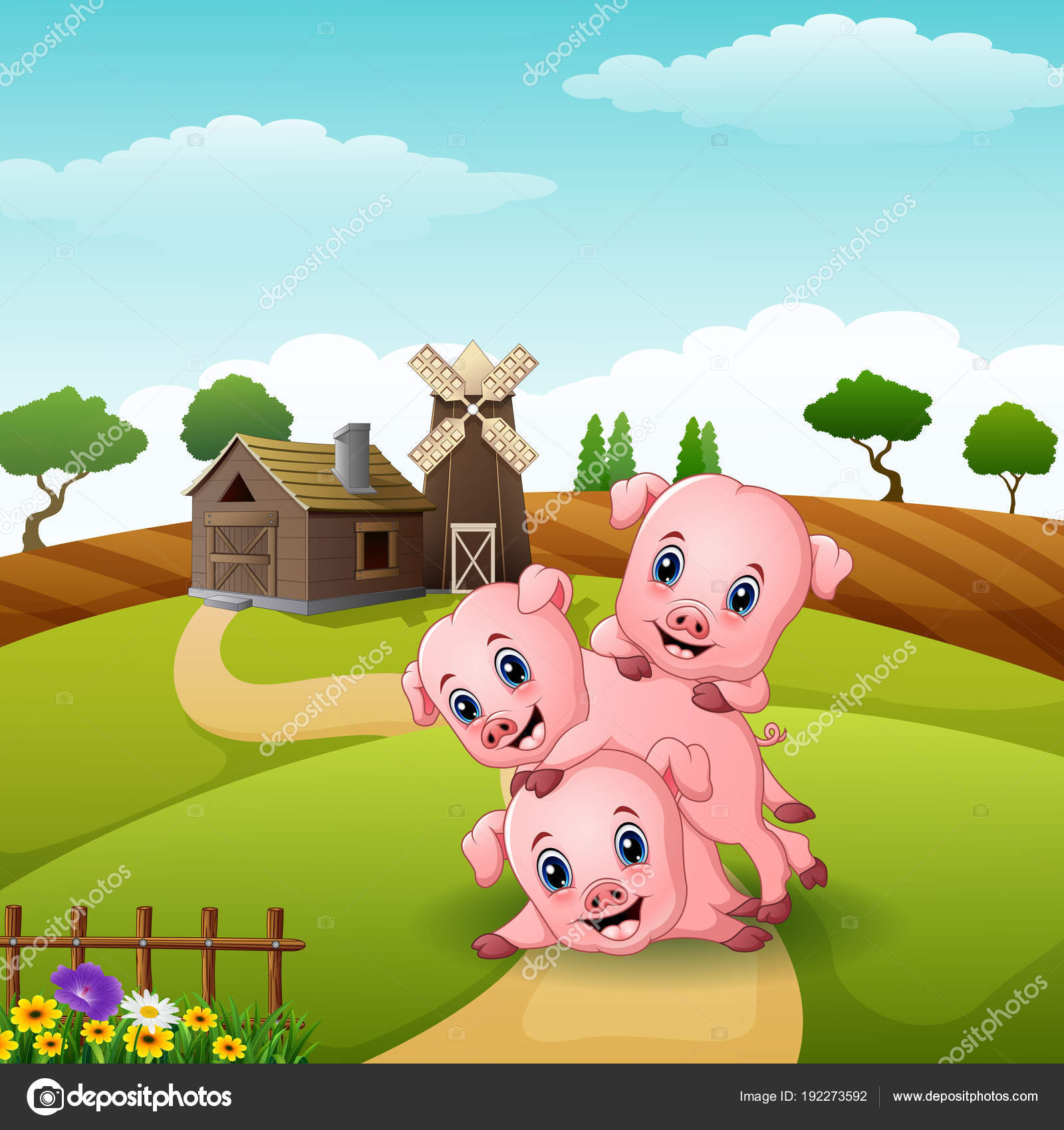 Vector Illustration Three Little Pigs Playing Farm Stock