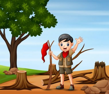Deforestation scene with a scout boy