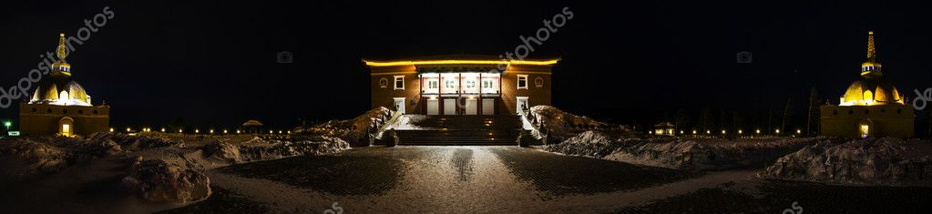 Ancient Buddhist temple at night, the city of Ulan-Ude.