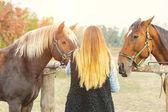 Fotografie Schöne Mädchen kümmert sich um ihre Pferde. Mädchen im Mittelpunkt. Warme Bildton. Soft-Fokus