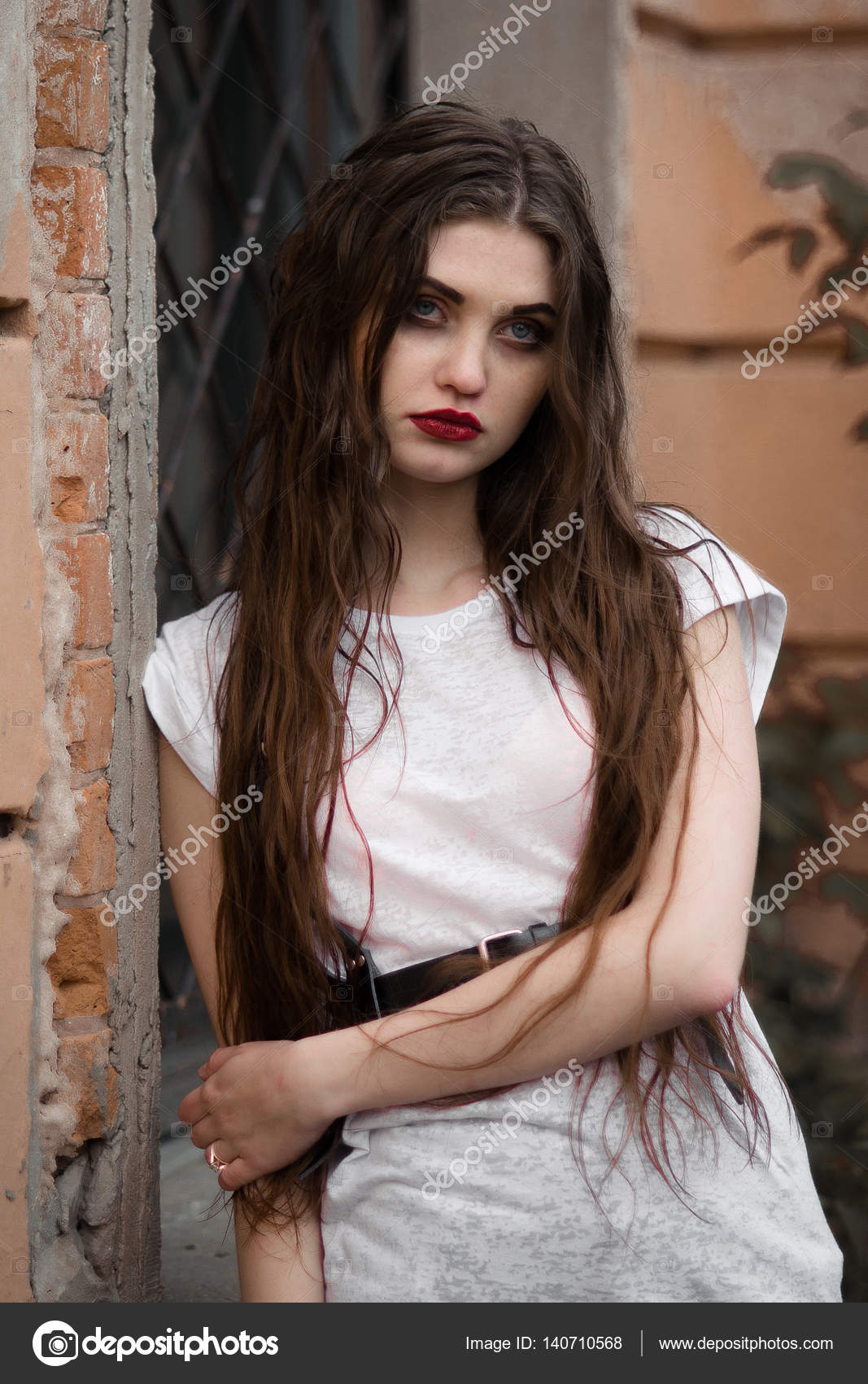 Beautiful Goth Girlblack Flower In Hand Of Young Woman -8415