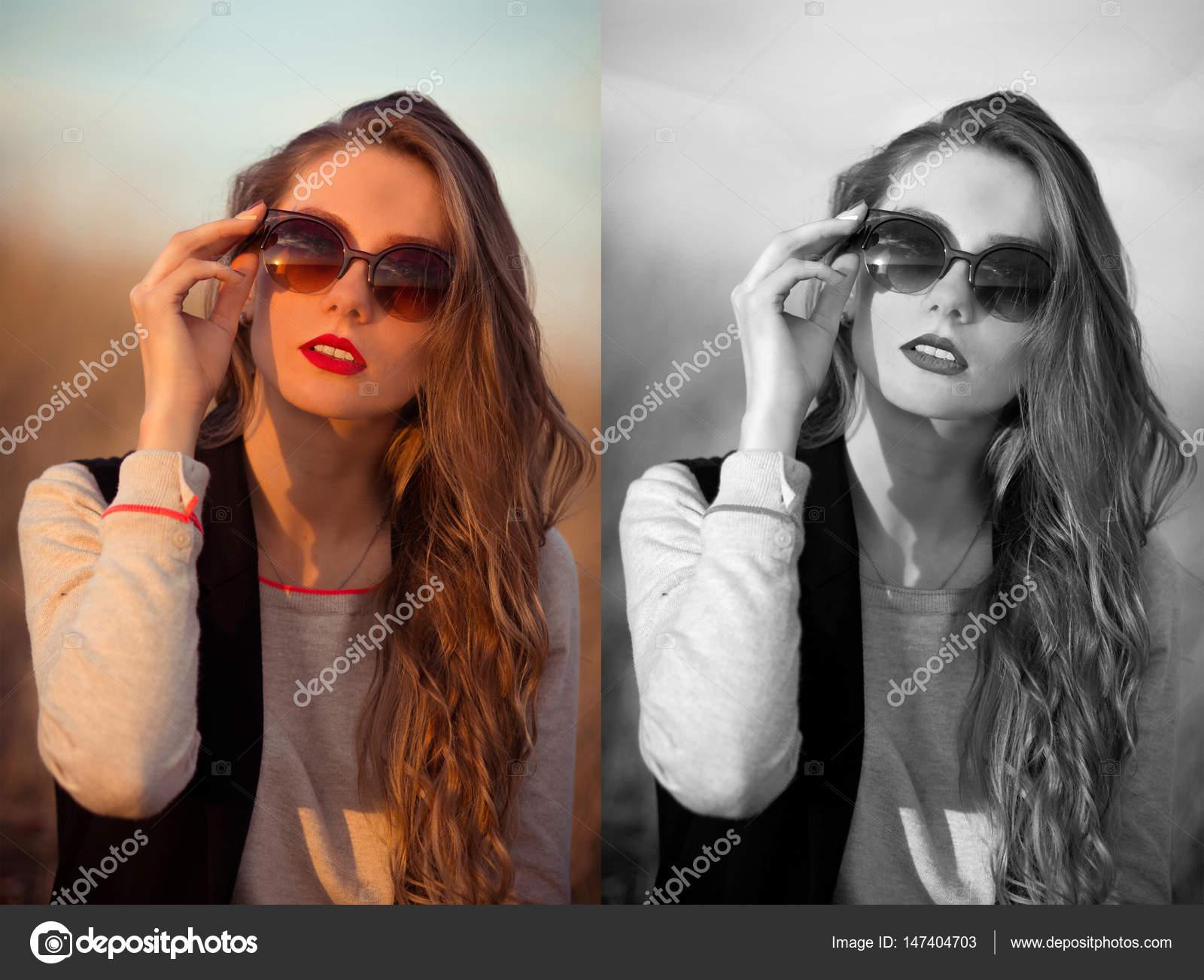 Ensoleillé, joyeux, brune, fille glamour avec des lunettes de soleil,  corrige, cales moderne, nouveau, élégant, brun, lunettes de soleil. Femme,  bon goût. 3e36f7b80d16