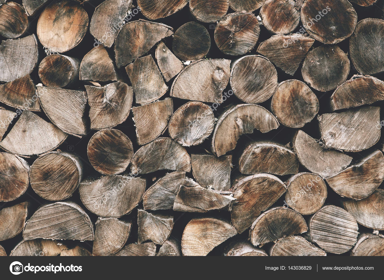 Wood Logs Storage. Pieces Of Wood Stump Background. Wooden Textured  Backdrop. U2014 Stock