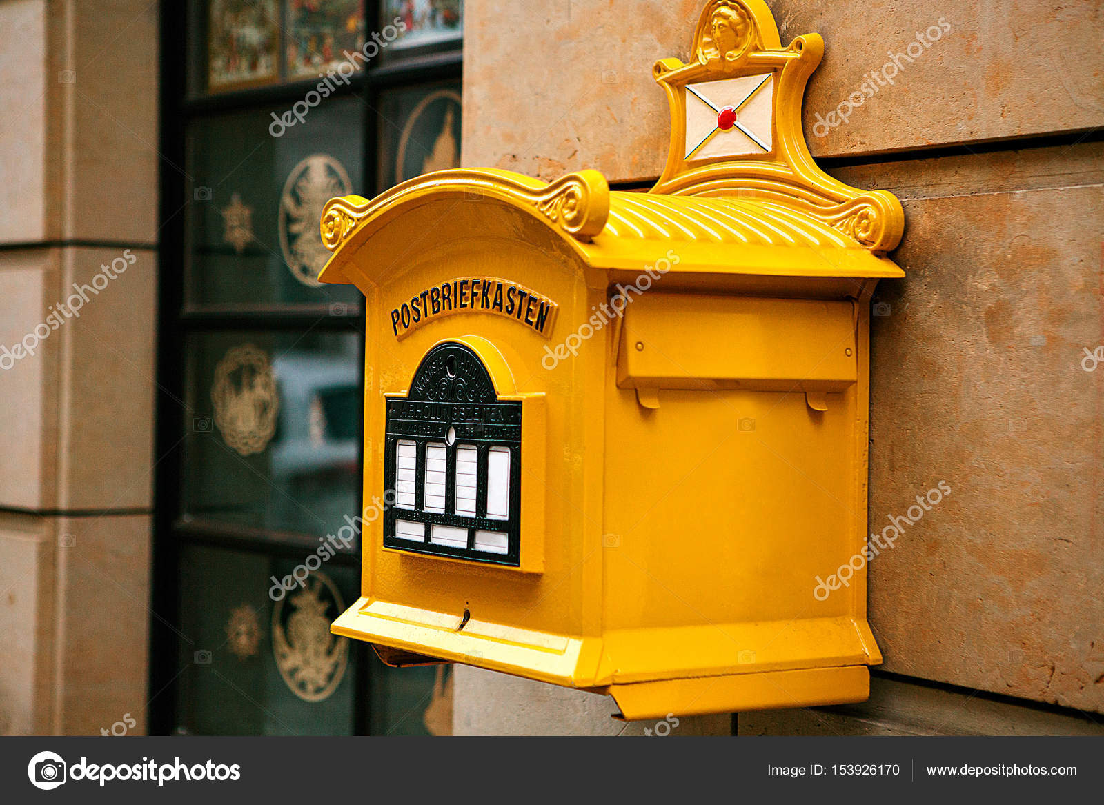 A Traditional Yellow Letter Box In Germany Communication Between