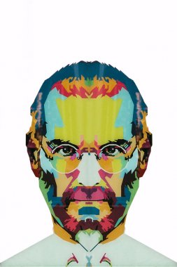 Christmas Island, Australia, May 20, 2018: an illustration in the art style in the form of a mosaic Steve Jobs - a talented person and the founder of the international corporation Apple