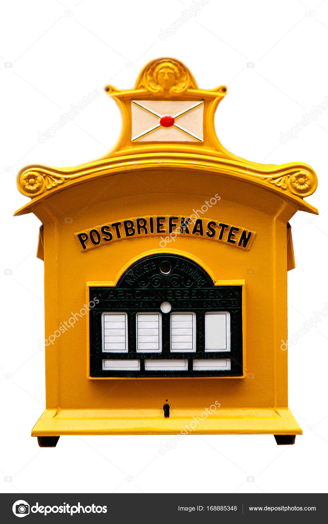 Traditional German Mailbox On White Background Communication