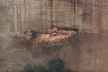 Meteora, Greece, Chapel of Agios Georgios Mandelas. Worshipers hang pieces of cloth once a year in memory of an event