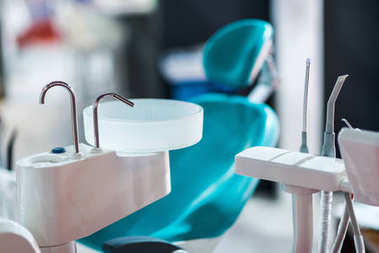 close up of Dentistry chair  with Instruments