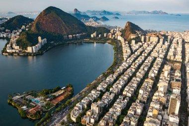 aerial shot of Ipanema and Lagoa in Rio de Janeiro, Brazil