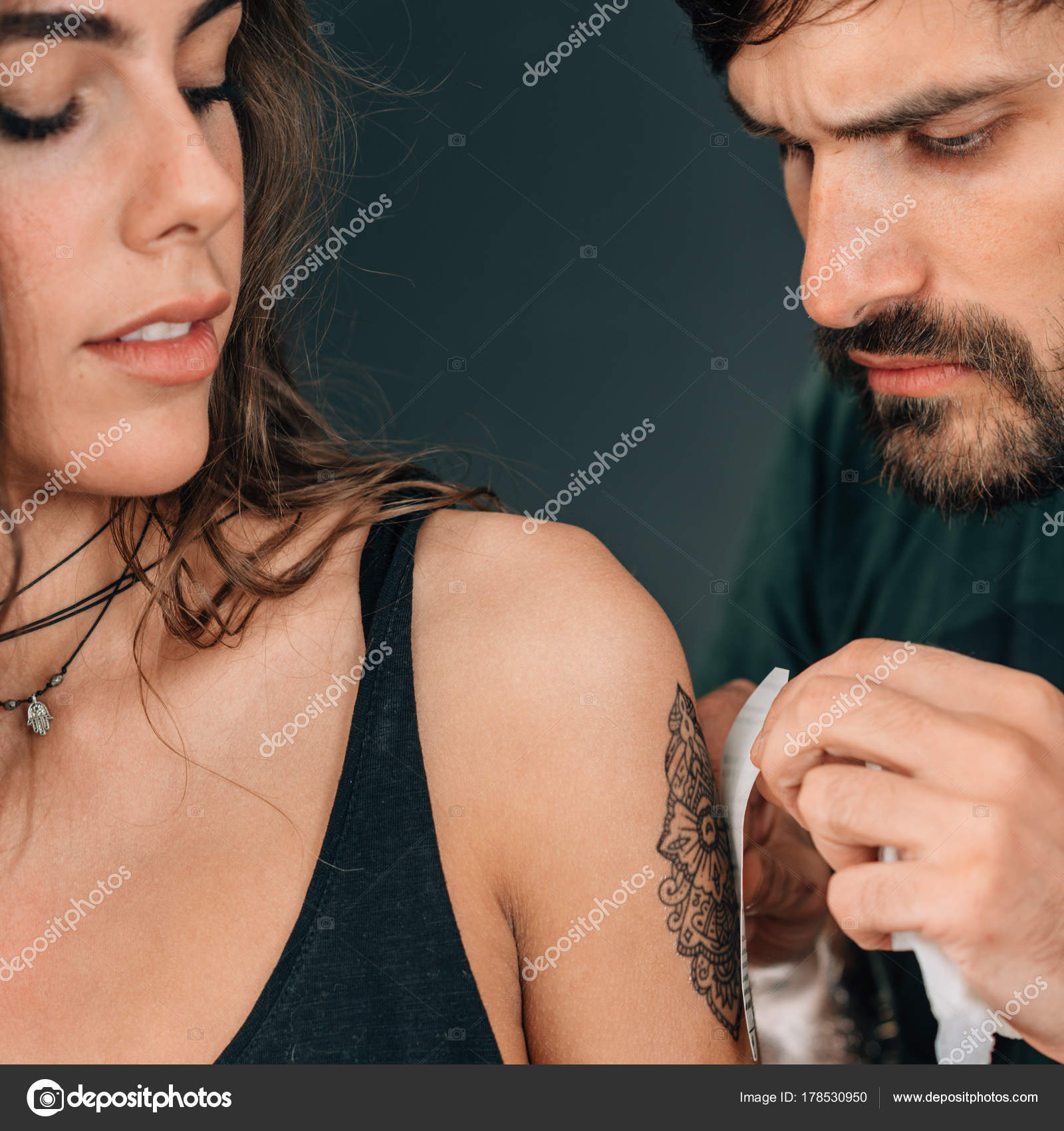 Temporary Tattoo Professional Make Artist Applying Temporary