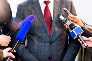close up of Media interview with businessman