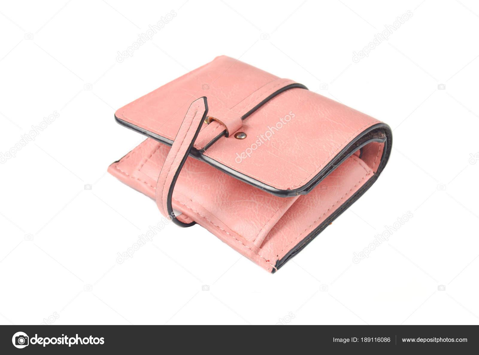 Roze Leren Portemonnee.Vrouwelijke Lederen Portemonnee Pastel Roze Kleur Geisoleerd Op