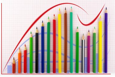Growth graph chart created from colored pencils